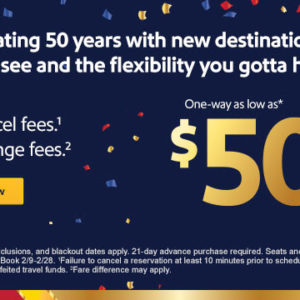 $50 fares to celebrate 50 years