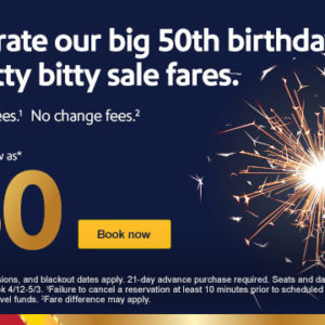 $50 sale fares because we only turn 50 once