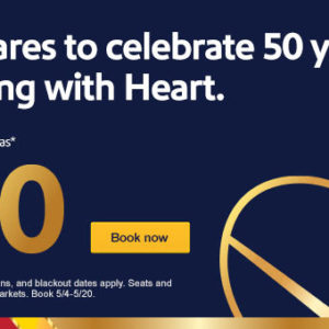 Low fares to celebrate 50 years of flying with Heart