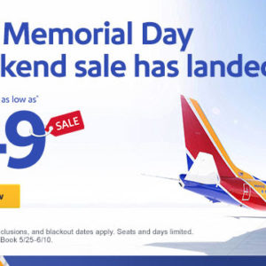 $49 Memorial Day sale. Yay for a getaway.