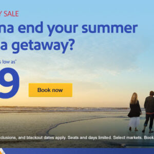 $59 sale fares to late summer sunsets